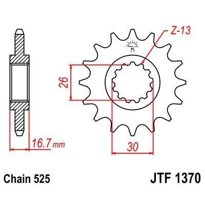 Pignon JT Sprockets Acier pas 525 16 dents - Pour Honda CBR 600 RR 03-16