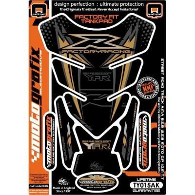 Protection de réservoir Motografix noir/or Yamaha Factory Racing 4 pièces