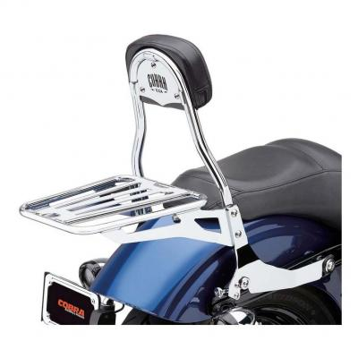 Sissybar amovible Cobra tube rond chromé Harley Davidson FXDF 1584 Dyna Fat Bob 08-12