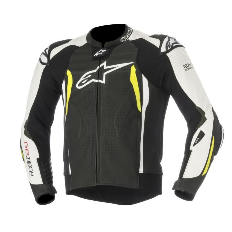 Blouson cuir Alpinestars GP Tech V2 noir/blanc/jaune fluo