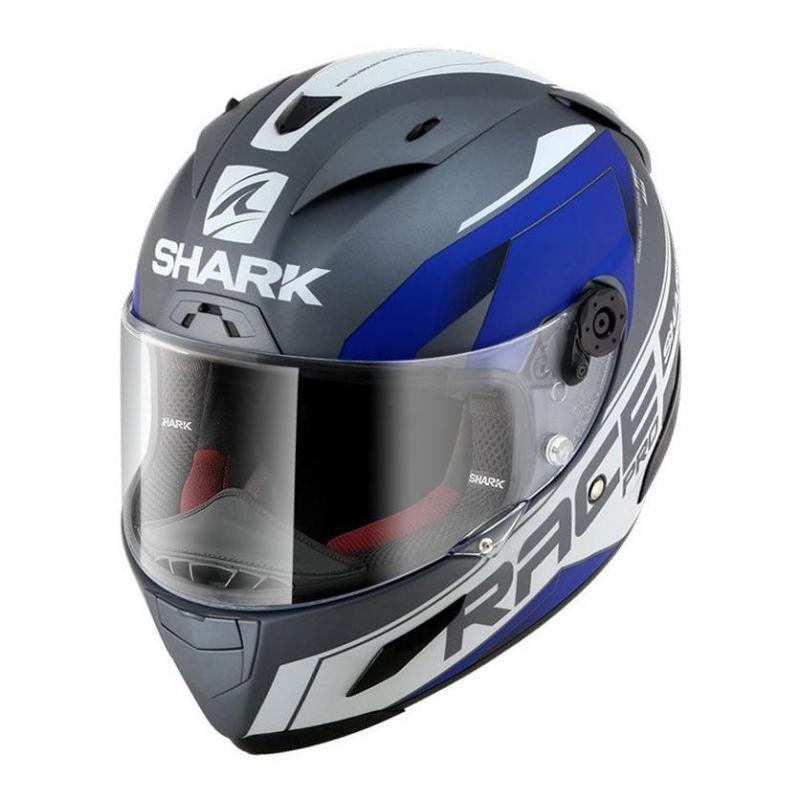 Casque intégral Shark RACE-R PRO SAUER MAT anthracite/blanc/bleu