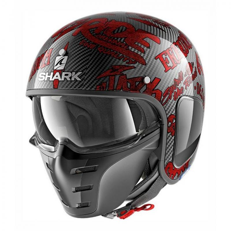 Casque jet Shark S-DRAK FREESTYLE CUP carbone/rouge