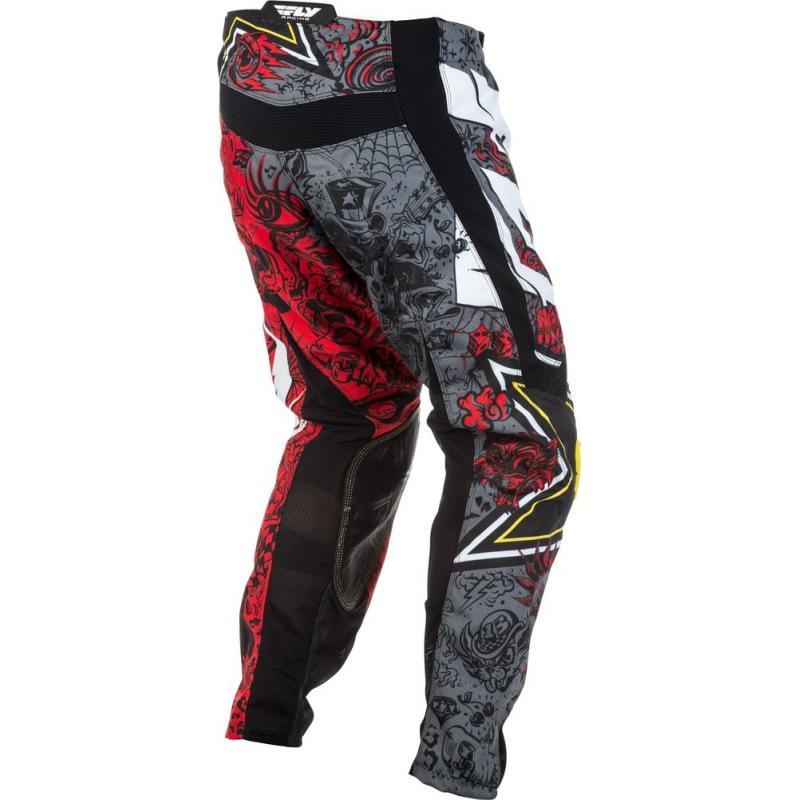 Pantalon cross Fly Racing Kinetic Rockstar rouge/gris - 3