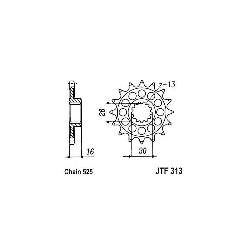 Pignon JT Sprockets Acier pas 525 16 dents - Pour Honda VFR 750 88-92