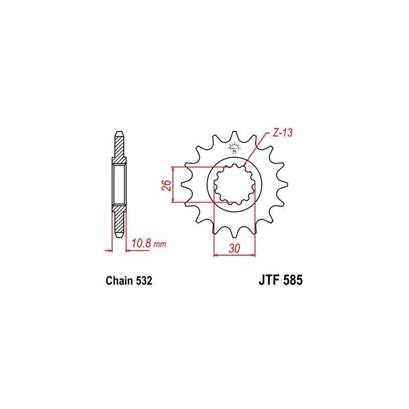 Pignon JT Sprockets Acier pas 532 17 dents - Pour Yamaha XJR 1200 95-98