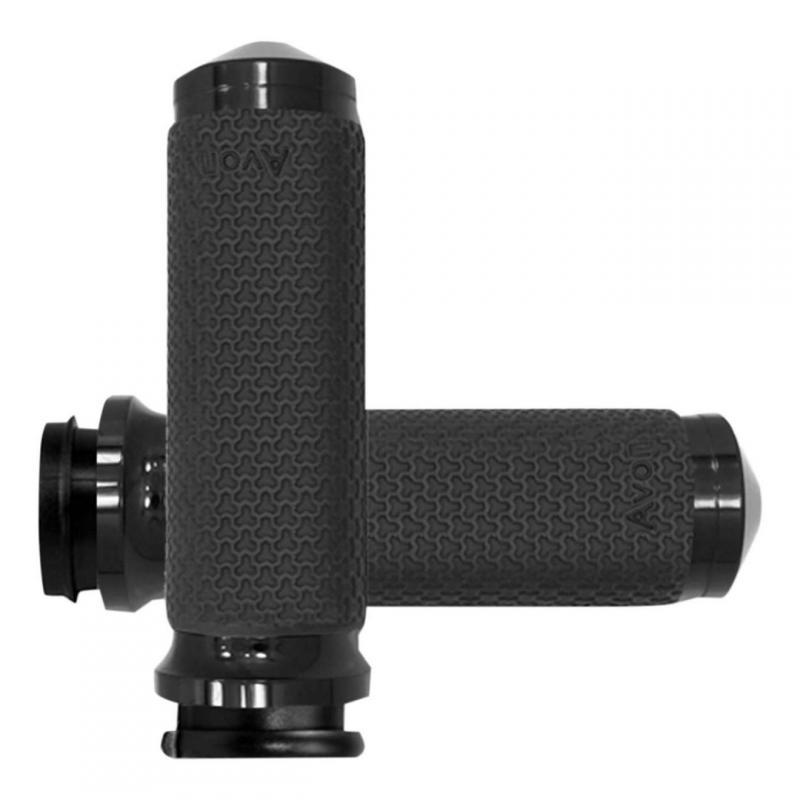Poignées Avon Ø 38mm mémoire de formes tirage électronique embout arrondies Road King 08-20 noir