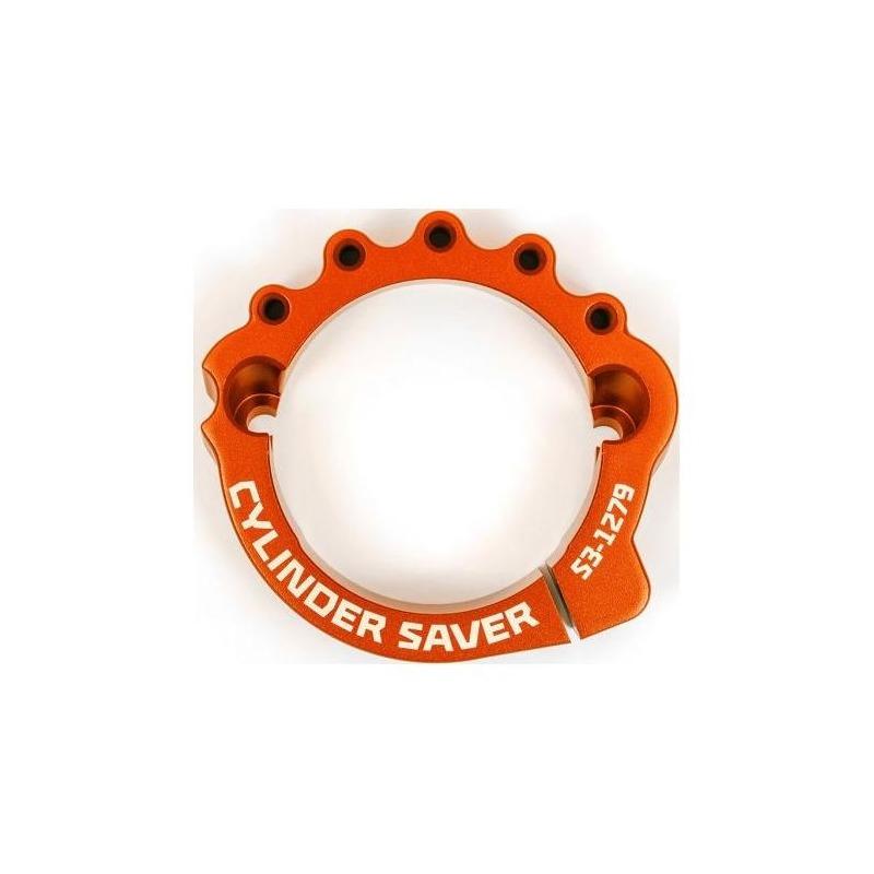 Protection sortie cylindre bride d'échappement S3 orange pour Husqvarna TE 250 / KTM 250 EXC