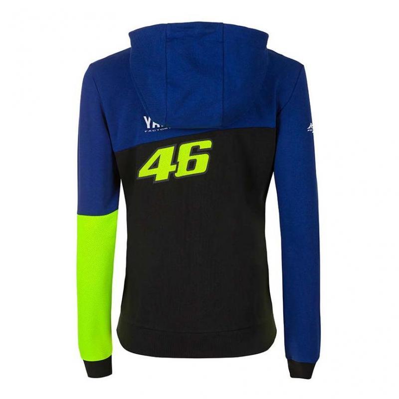 Veste zip femme VR46 Racing Yamaha sweat à capuche bleu/noir/jaune - 1