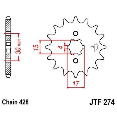 Pignon JT Sprockets Acier pas 428 15 dents - Pour Honda Supra 100 99-00