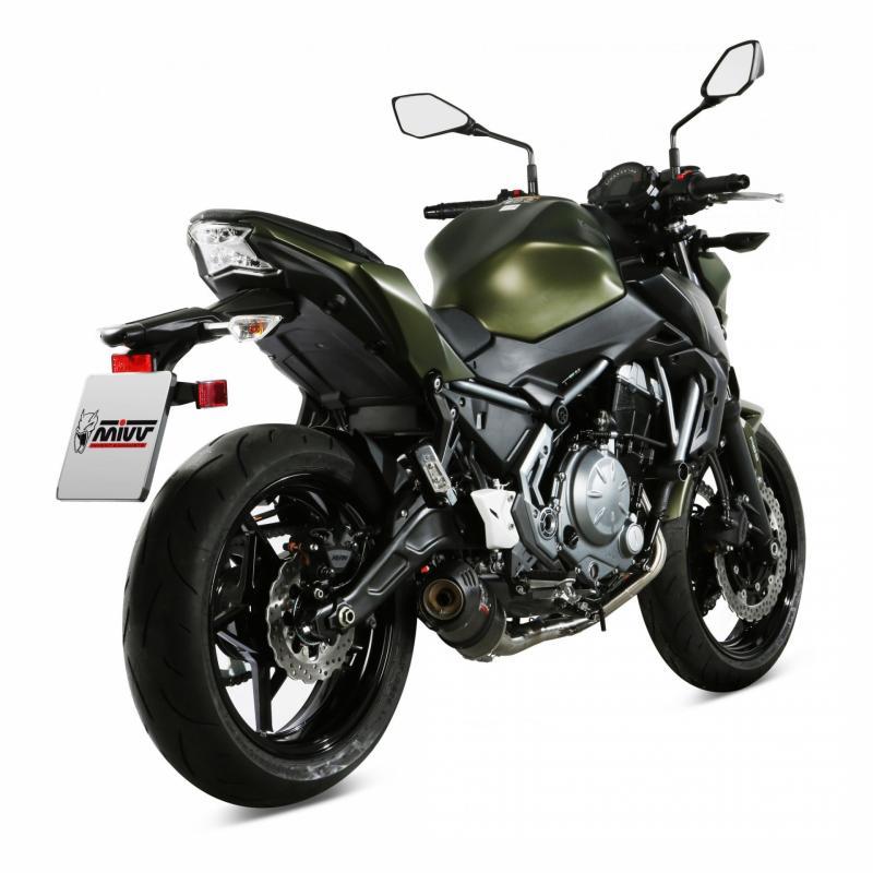 Ligne d'échappement complète Mivv inox silencieux Oval carbone Kawasaki Z 650 17-19