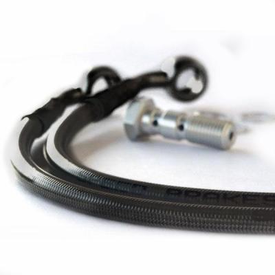 Kit durites de frein avant aviation carbone raccords noirs Honda GL 1100 Integral 80-83