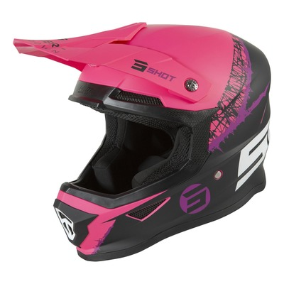 Casque cross Shot Furious Storm mat fushia/noir