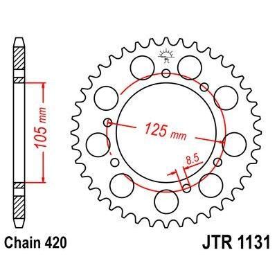 Couronne JT Sprockets Acier pas 420 52 dents - Pour Rieju MRT 50 09-10