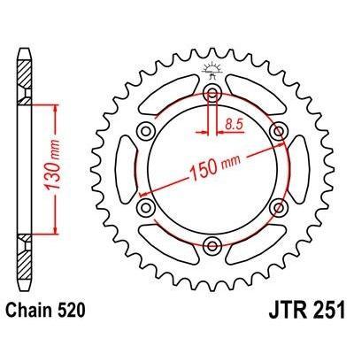Couronne JT Sprockets Acier pas 520 48 dents - Pour Yamaha YZ-F 450 15-21