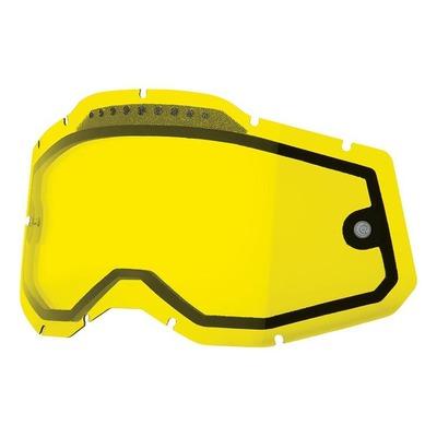 Écran masque cross 100% RC2/AC2/ST2 écran double ventilé jaune
