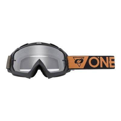 Masque cross O'Neal B-10 Speedmetal noir/marron – écran clair
