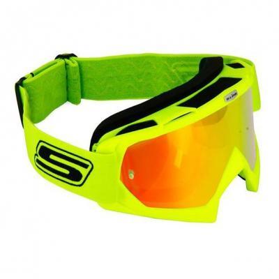 Masque cross S-Line Eco jaune fluo bandeau jaune fluo écran iridium rouge+clair