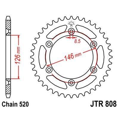 Couronne JT Sprockets Acier pas 520 44 dents - Pour Suzuki DR-Z 400 S 00-06