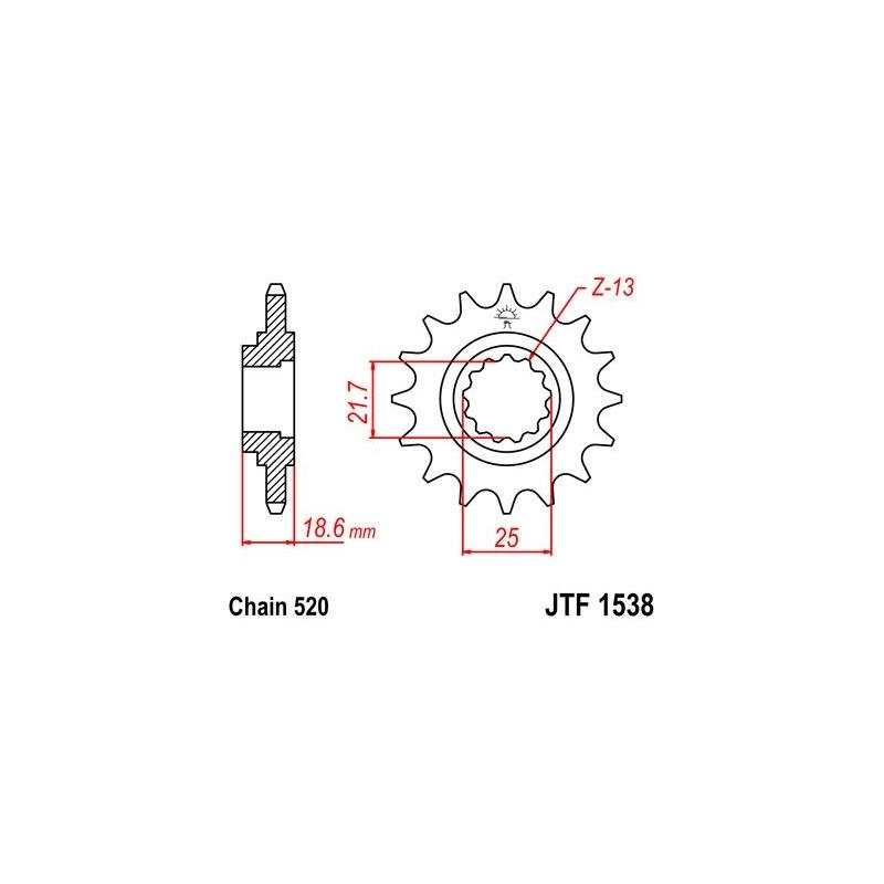 Pignon JT Sprockets Acier pas 520 15 dents - Pour Kawasaki Z750 04-12