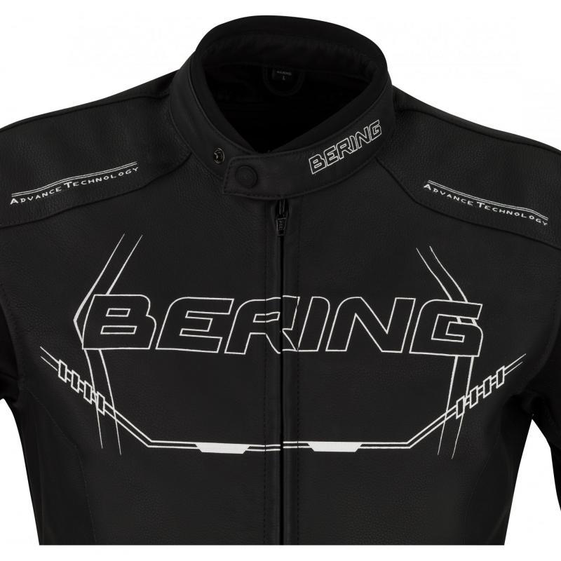 Blouson cuir Bering Forcio noir/blanc - 2