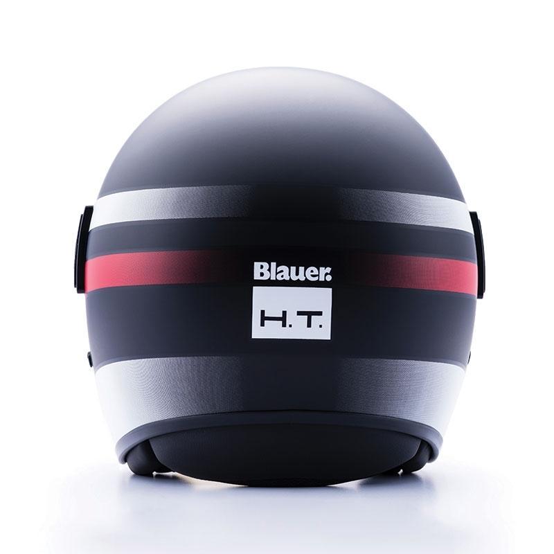 Casque jet Blauer POD Stripes noir/blanc/rouge mat - 2