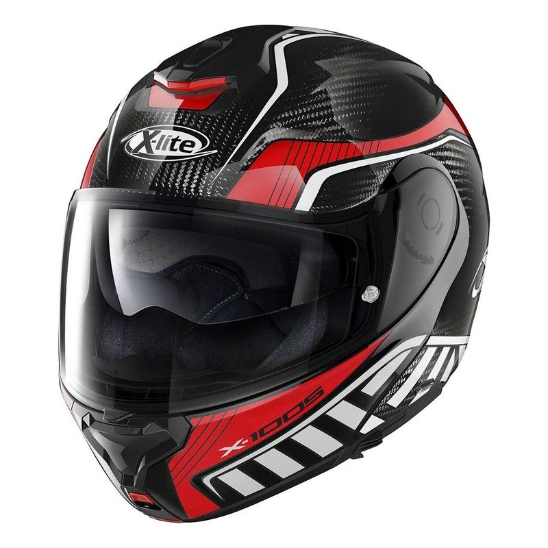 Casque modulable X-Lite X1005 Ultra Carbon Cheyenne N-Com carbone/rouge