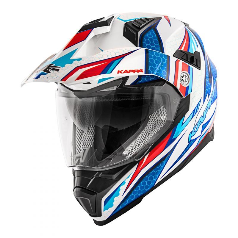 Casque trail Kappa KV30 Enduro Ride blanc verni/rouge/bleu