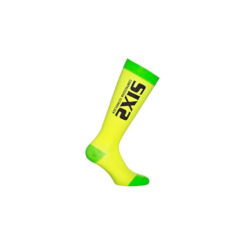 Chaussettes de compression Sixs recovery sock jaune et vertes