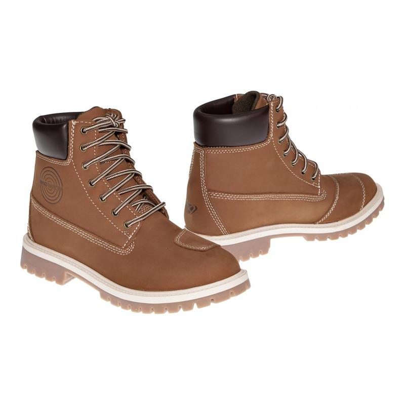 Chaussures moto femme cuir/textile Ixon Mud WP moka