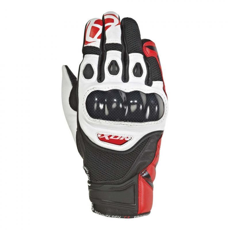 Gants été cuir/textile Ixon RS Recon Air noir/blanc/rouge