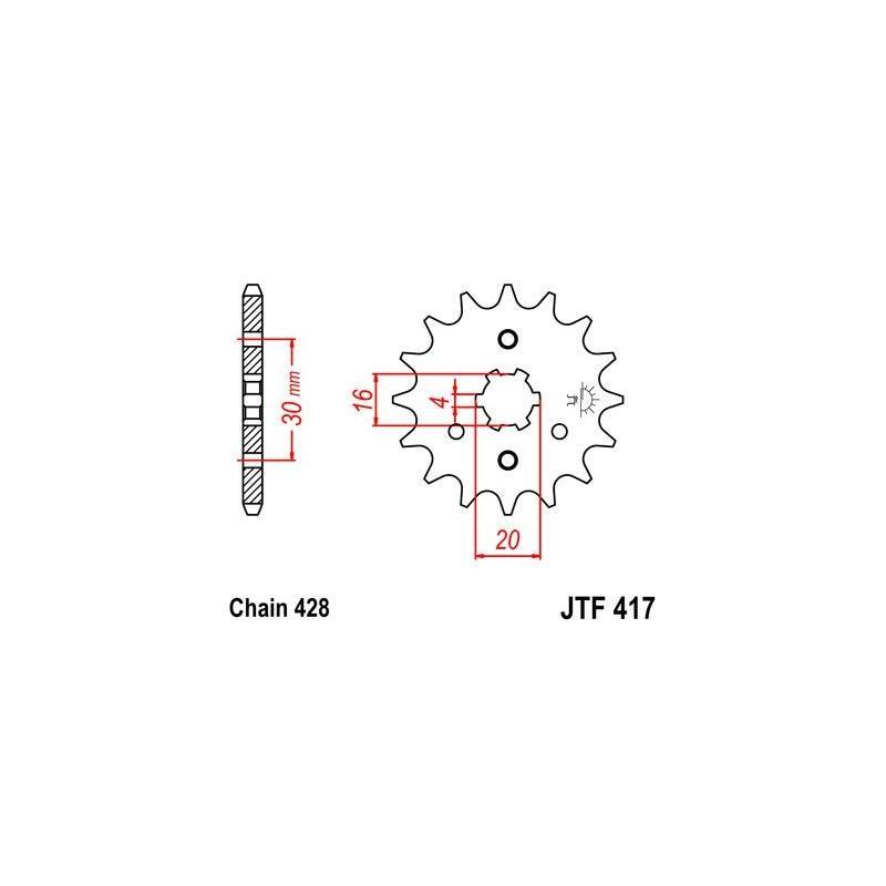 Pignon JT Sprockets Acier pas 428 15 dents - Pour Kawasaki KDX 125 SR 90-99
