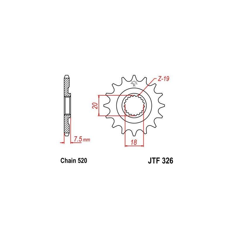 Pignon JT Sprockets Acier pas 520 15 dents - Pour Honda Varadero 125 01-13