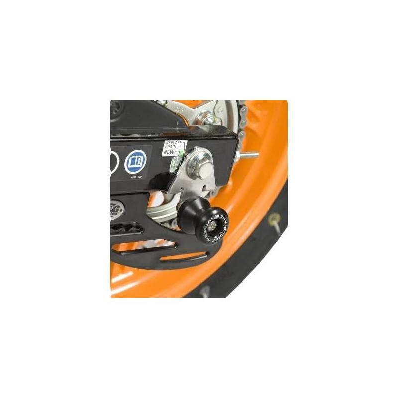 Diabolos de bras oscillant R&G Racing noir sur platine Honda CBR 125 R 11-17