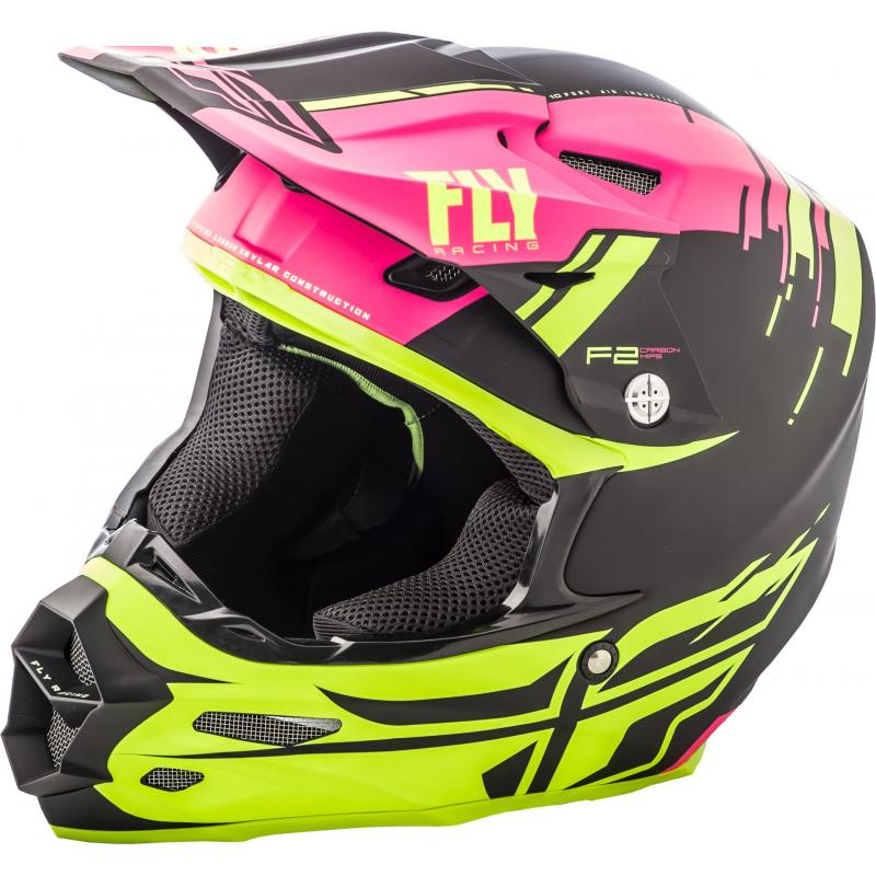 Casque cross Fly Racing F2 Carbon Forge rose/jaune/noir