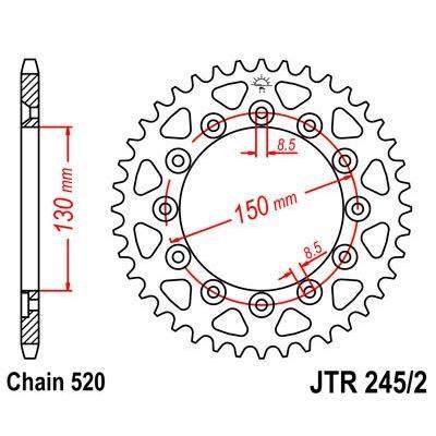 Couronne JT Sprockets Acier pas 520 48 dents - Pour Honda XR 250 R 86-89