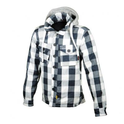 Blouson Booster Hoodie Hunt carreaux blanc/gris/bleu