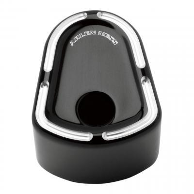 Cache bouton ignition Arlen Ness type origine noir bordures aluminium brossées