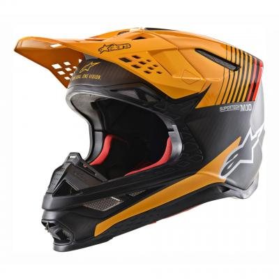 Casque cross Alpinestars Supertech S-M10 Alloy mat/brillant noir carbone/orange