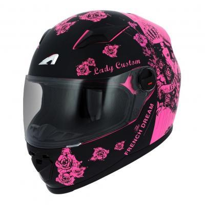 Casque intégral enfant Astone GT2 KIDS Graphic LADY CUSTOM noir/rose