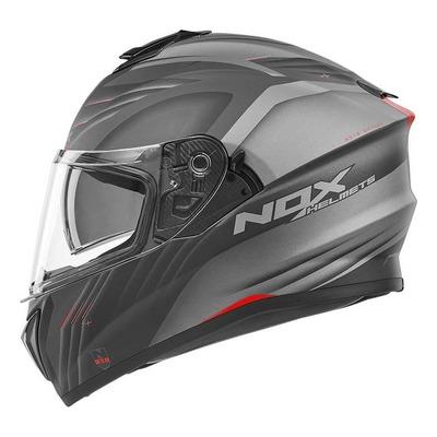 Casque intégral Nox N918 Upside mat blanc/noir/rouge