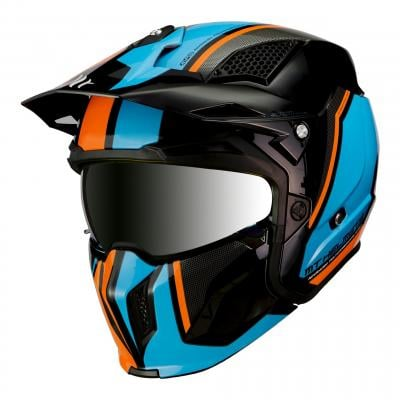 Casque transformable MT Helmets Streetfighter SV orange-bleu-noir brillant