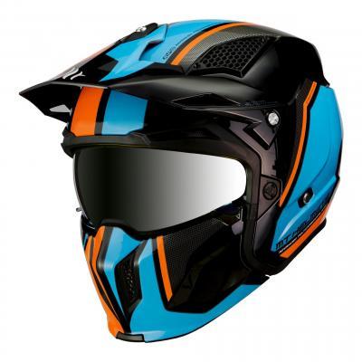 Casque transformable MT Helmets Streetfighter SV orange-bleu-noir brillant