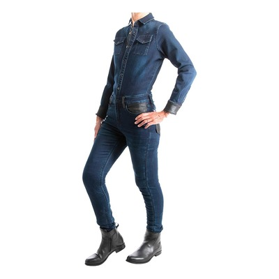 Combinaison jean moto femme Overlap Tess bleu dark CE