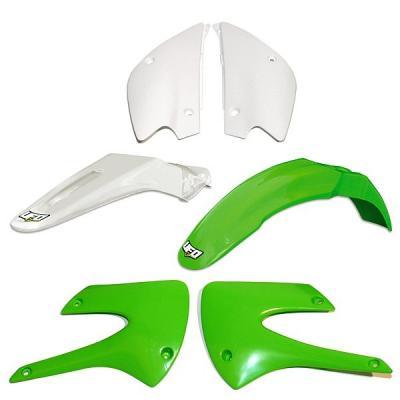 Kit plastique UFO Kawasaki 85 KX 2013 vert/blanc (version restylé couleur origine)