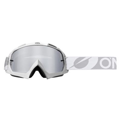 Masque cross O'Neal B-10 Twoface blanc/gris - écran miroir argent