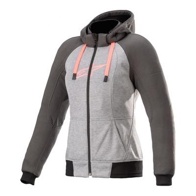 Sweat zippé femme moto Alpinestars Stella Chrome melange/tar gris/Diva pink
