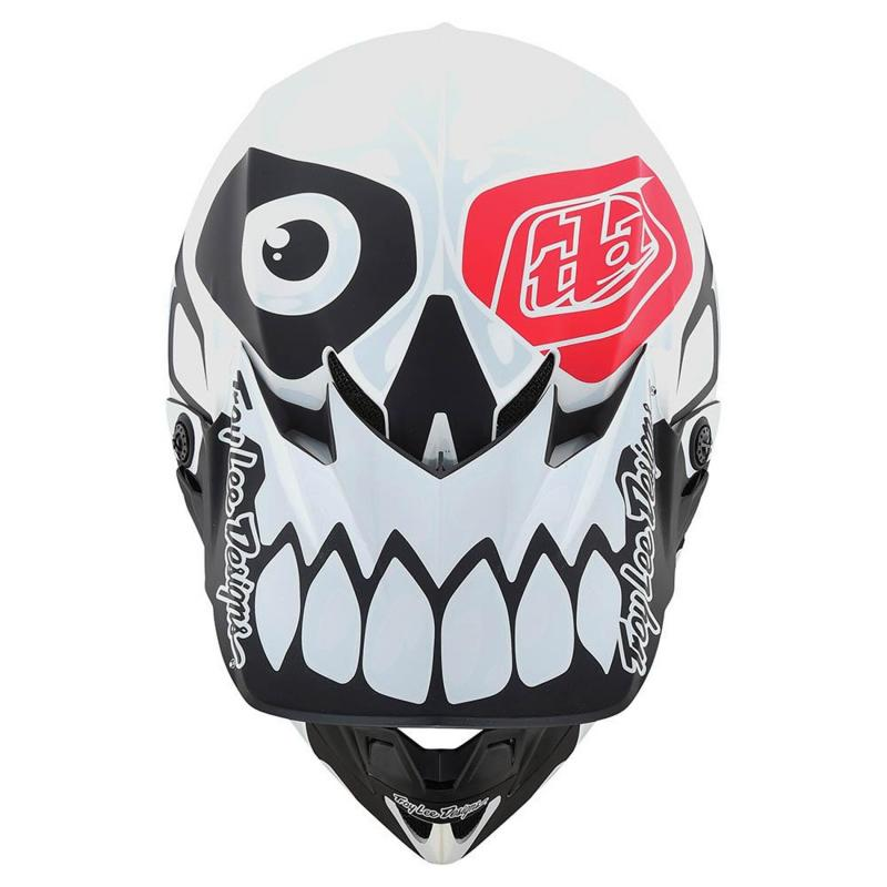 Casque cross Troy Lee Designs SE4 Polyacrylite Skully Mips blanc - 4