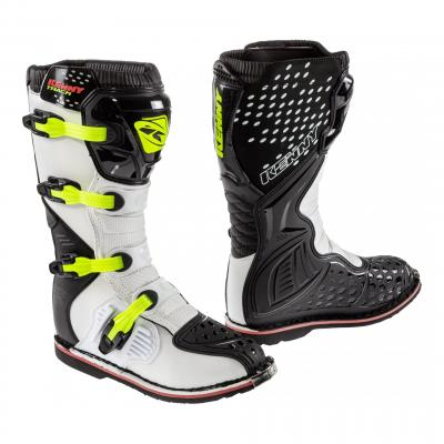 Bottes cross Kenny Track noir/blanc/jaune fluo