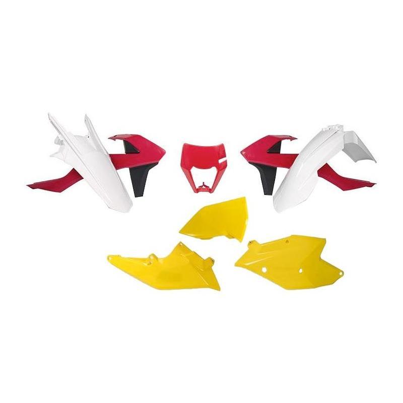 Kit plastique RTech KTM 250 EXC-F 17-19 blanc/rouge/jaune