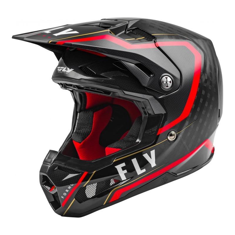 Casque cross Fly Racing Formula Carbone Axon noir/rouge
